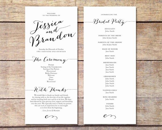 Simple Wedding Program Customizable Elegant Design