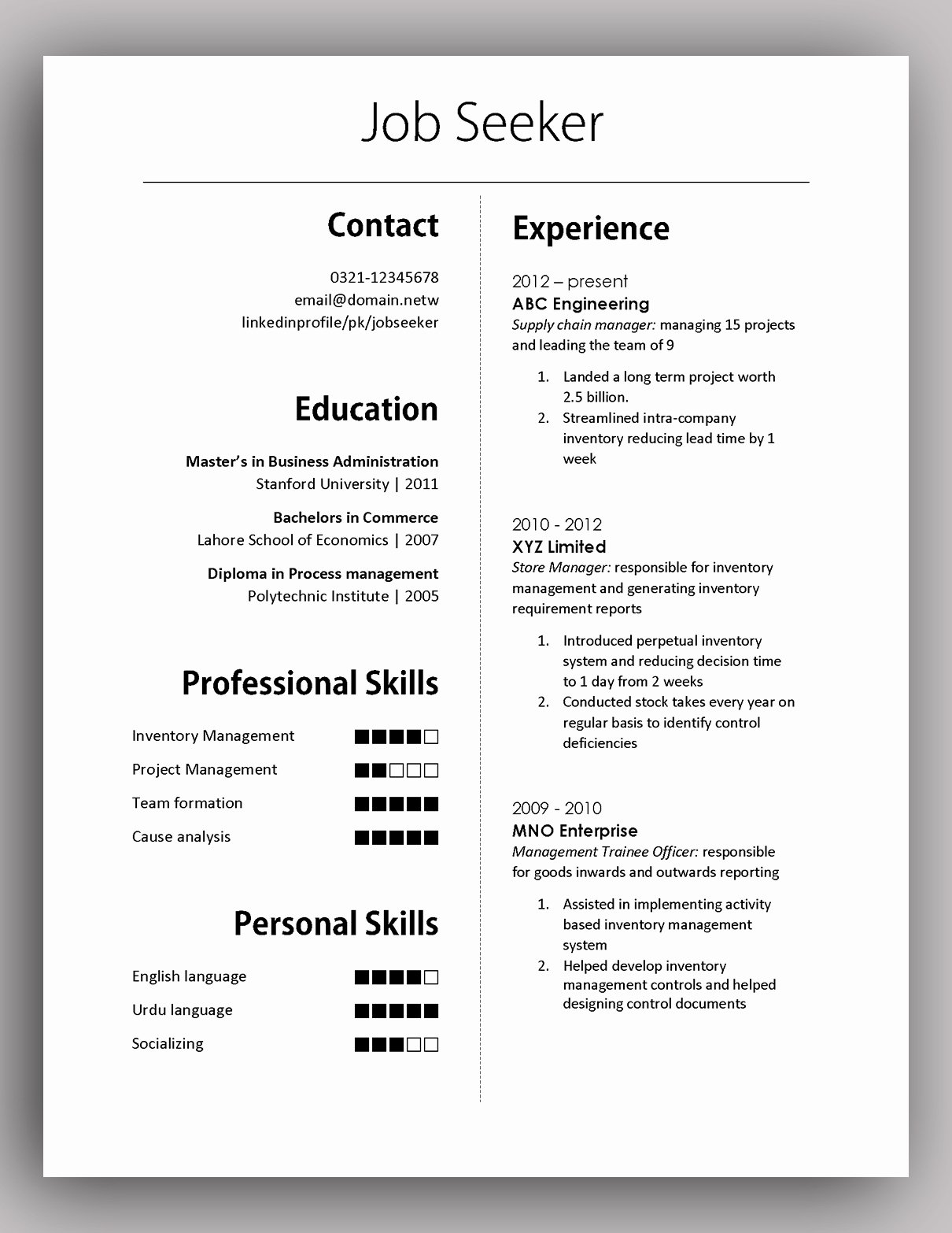 Simple yet Elegant Cv Template to the Job Done Free