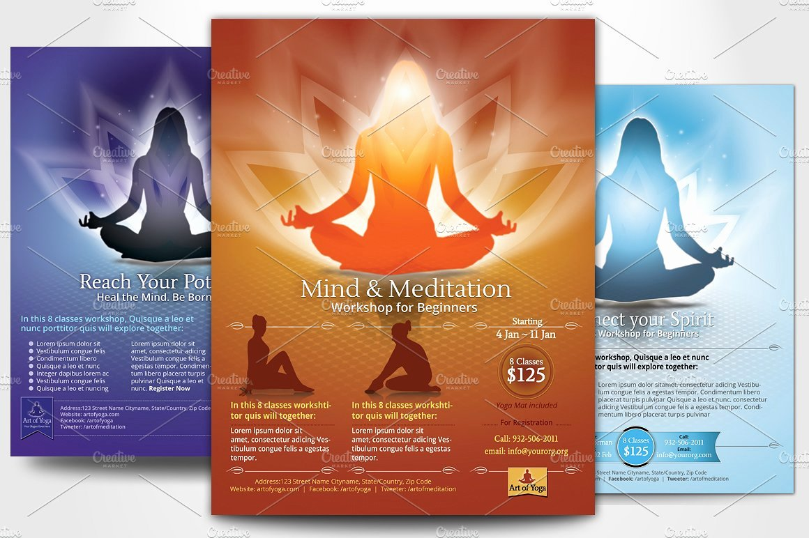 Simple Yoga Meditation Flyers Flyer Templates Creative