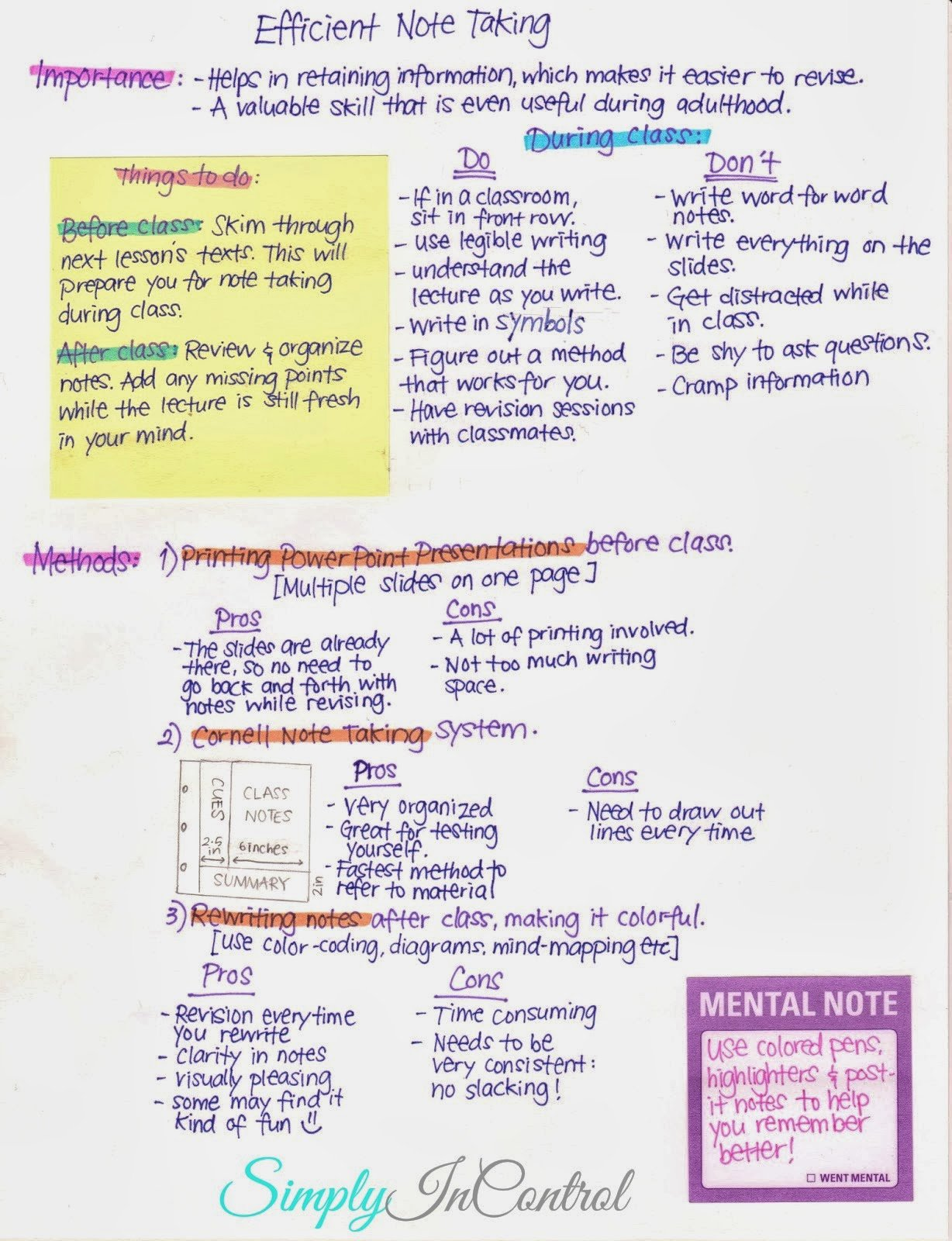 Simply In Control Note Taking Tips and Strategies