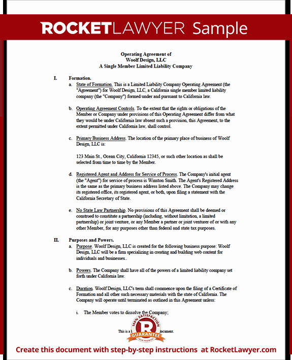 Single Member Llc Operating Agreement
