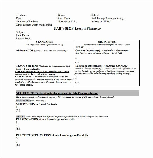 Siop Lesson Plan Template Free Word Pdf Documents