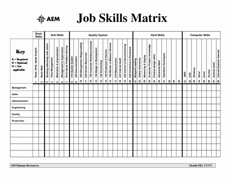Skill Matrix Template Excel for Business