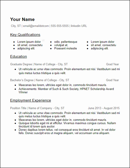 Skills Based College Education Google Docs Resume Template