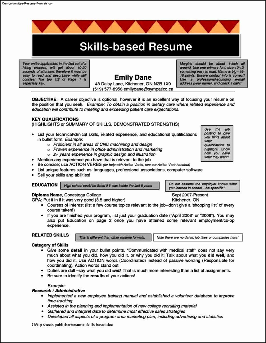 Skills Resume Template Word Free Samples Examples