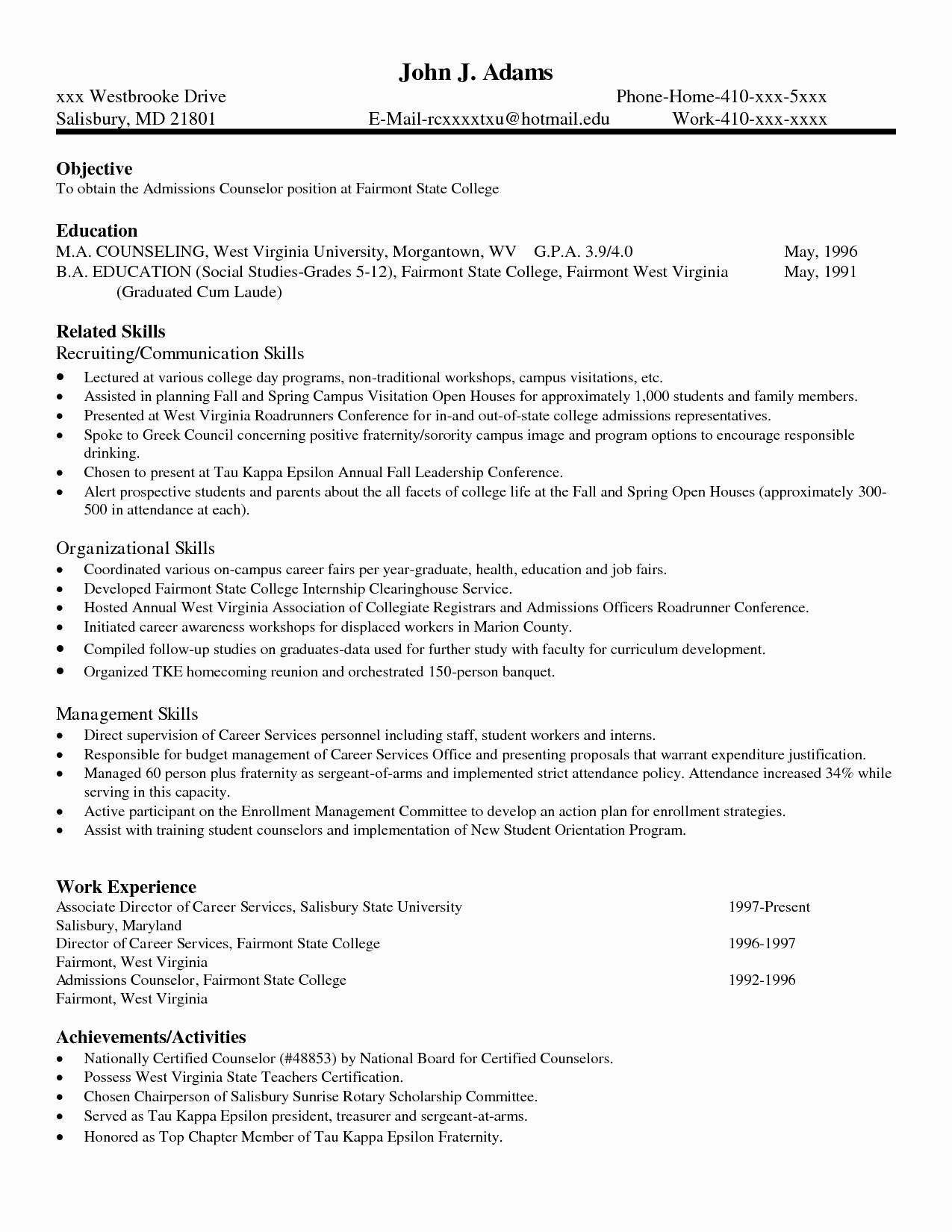 Skills Resume