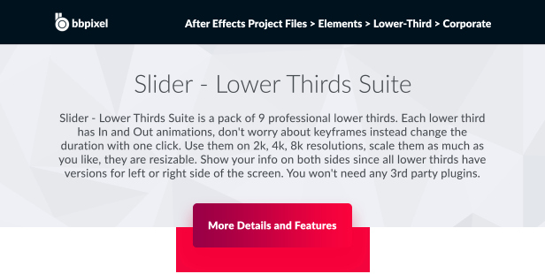 Slider – Lower Thirds Suite Corporate after Effects