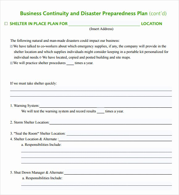 Small Business Emergency Response Plan Template Free