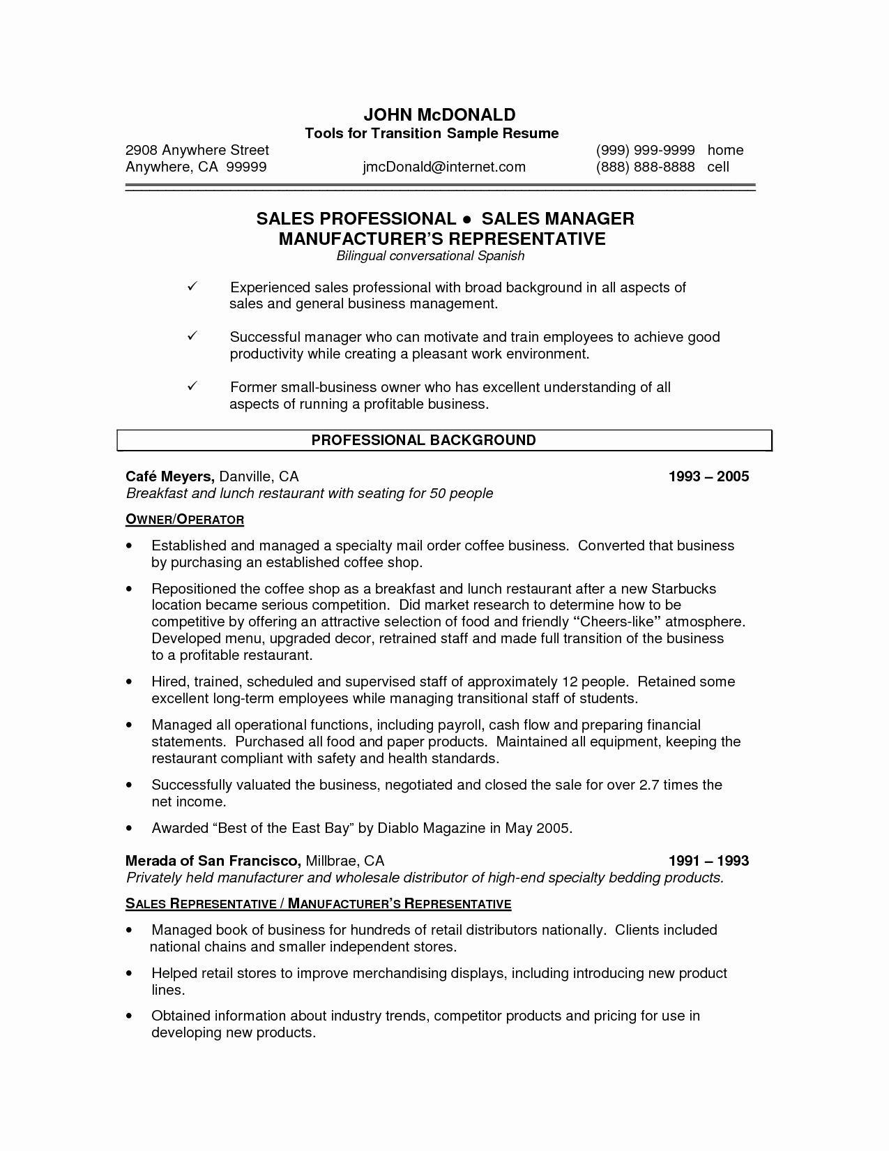 Small Business Owner Resume Template Bongdaao