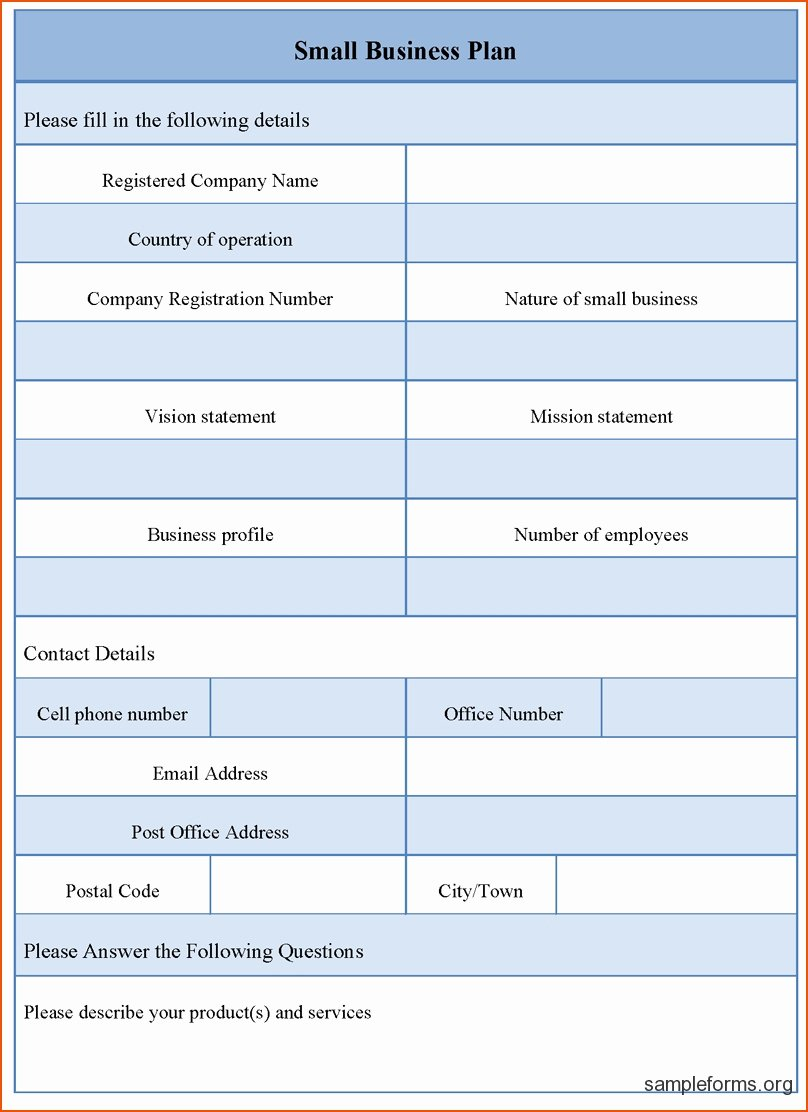 Small Business Plan Template Free Download Startup Word