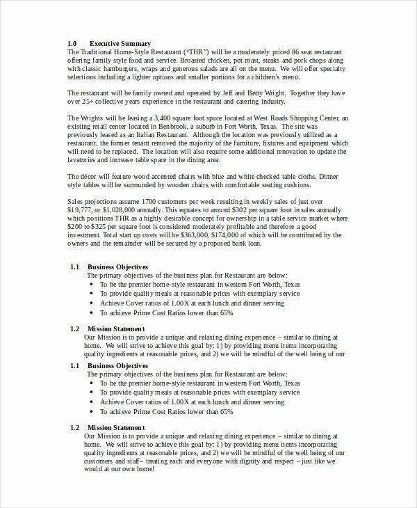 Small Restaurant Business Plan Sample