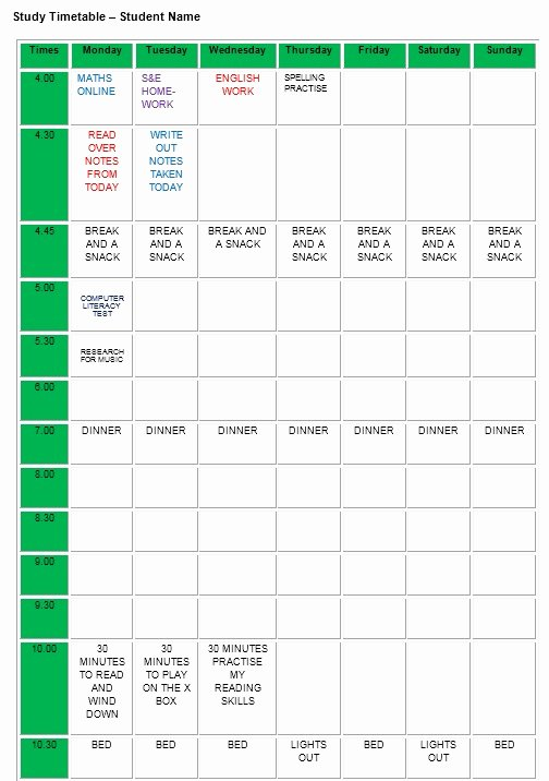 Snack Schedule Template Gecce Tackletarts