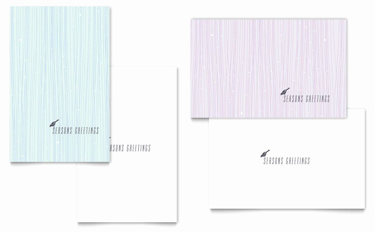 Snow Bird Greeting Card Template Word & Publisher