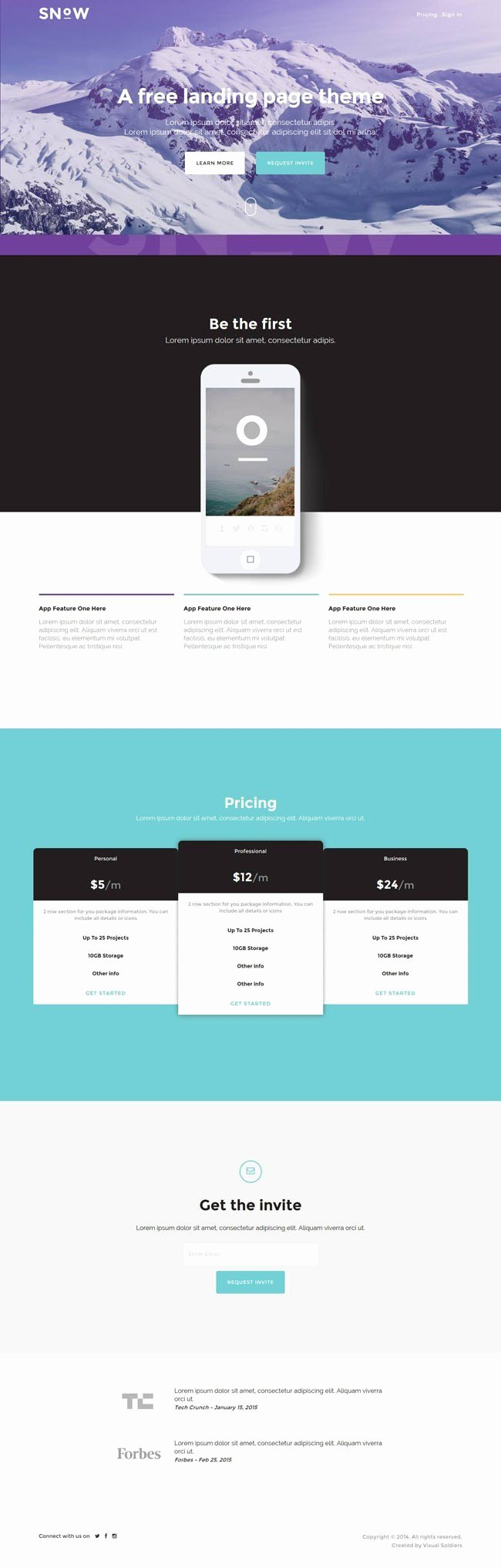 Snow Free Bootstrap Mobile App Landing Page Template