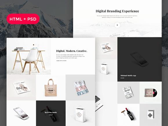Snow Free Psd HTML Portfolio Template Freebiesbug