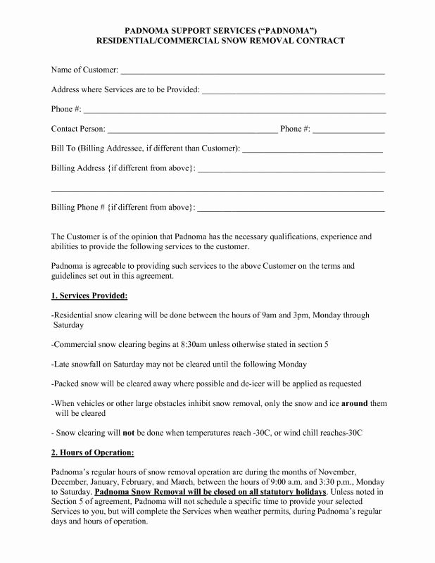 Snow Removal Contract Template Template Design Ideas