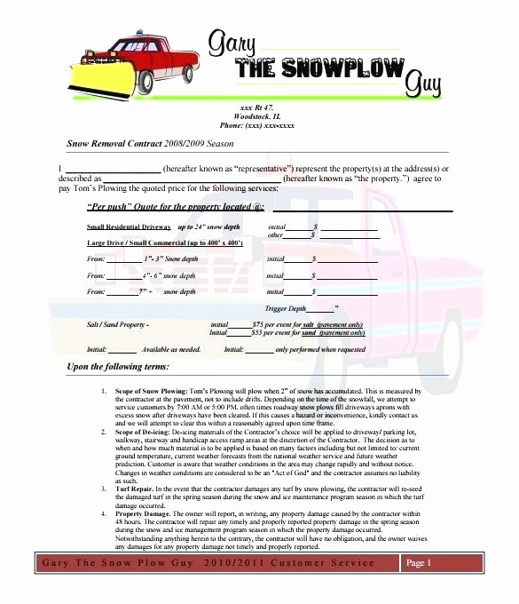 Snow Removal Contracts Templates 19 Snow Removal Contract