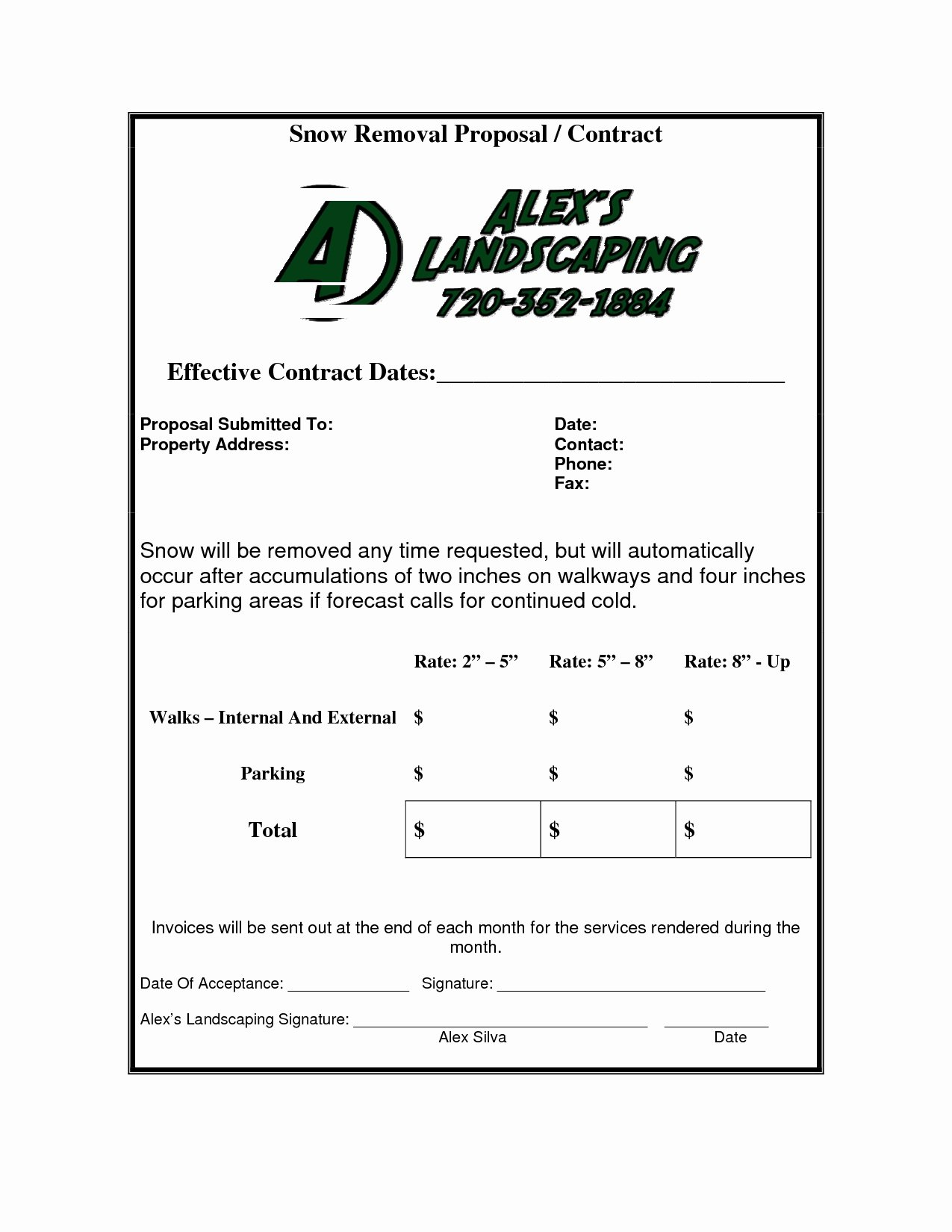 Snow Removal Invoice Invoice Template Ideas