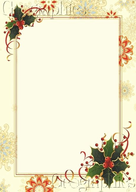 Snowflake Holly Gold Foil Christmas Letterhead
