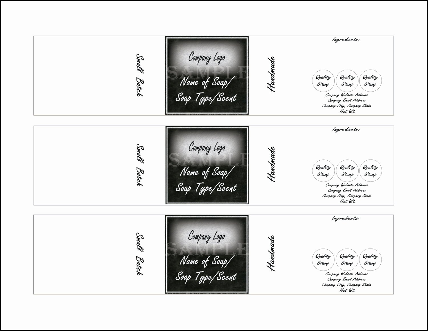 "Soap Label Template Printable 4 Files 4 Diy 2 X 10"" Blank"