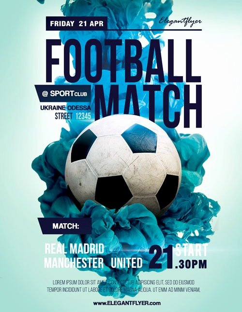 Soccer Match Free Sport Flyer Template Download Flyer