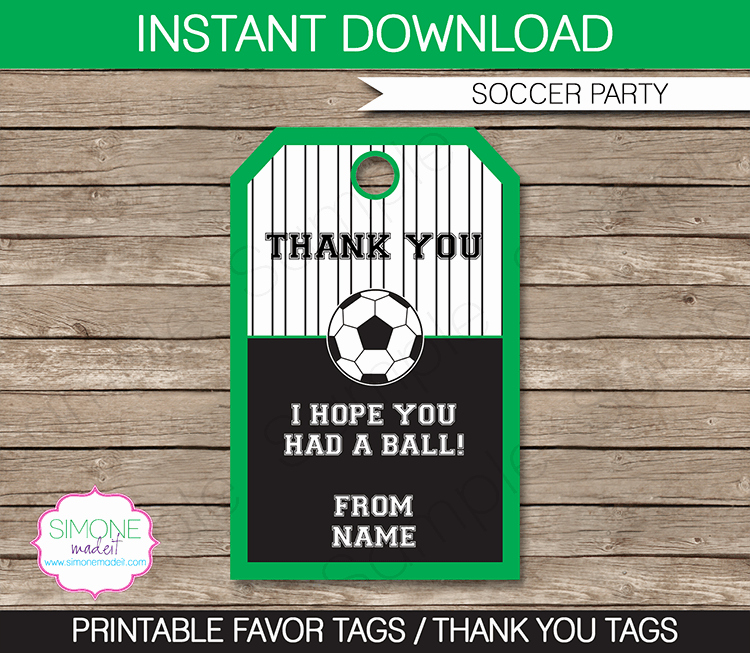Soccer Party Favor Tags Thank You Tags