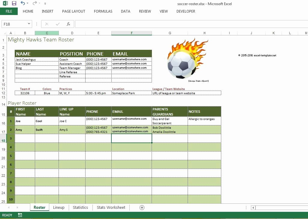 soccer roster free excel template