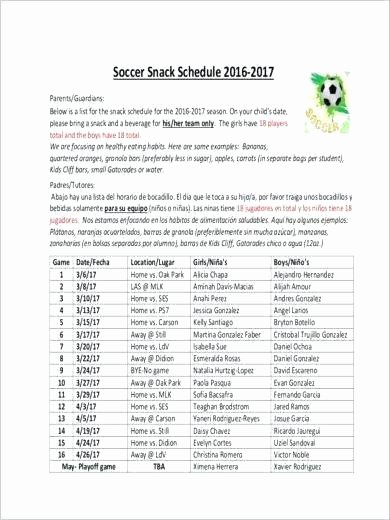 Soccer Snack Schedule Sample Game Plan Template