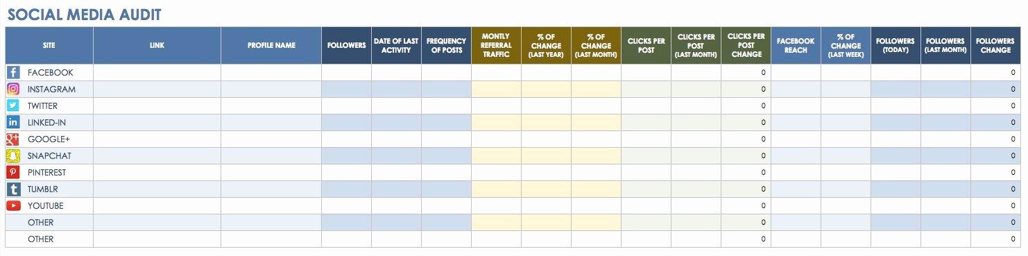 Social Media Calendar Excel Template
