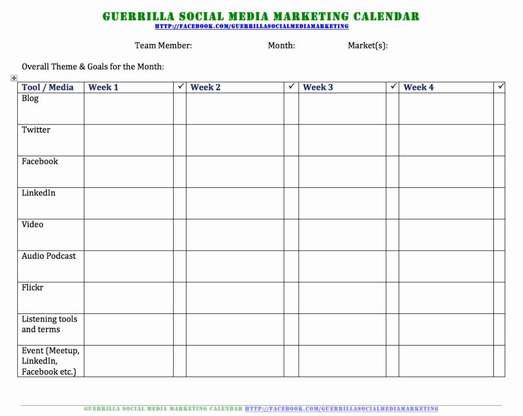 Social Media Calendar Sample Template