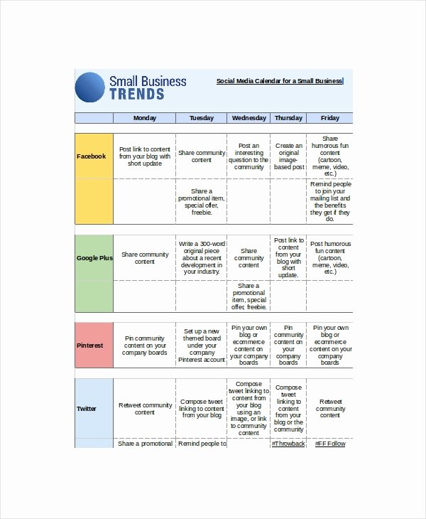 Social Media Calendar Template 7 Free Word Excel Pdf