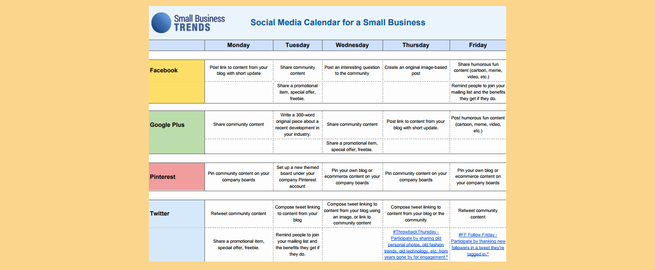 Social Media Calendar Template for Small Business