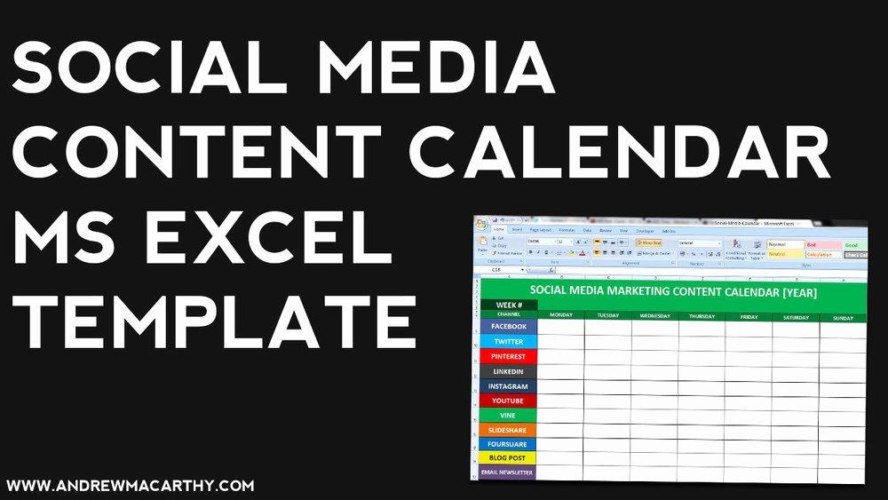 Social Media Content Calendar Template Excel