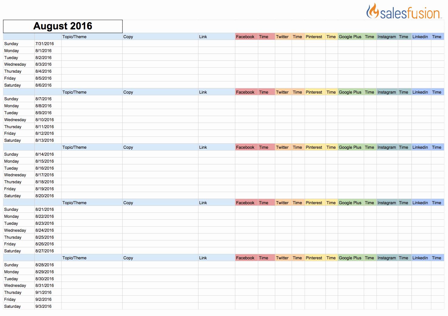 Social Media Content Calendar Template