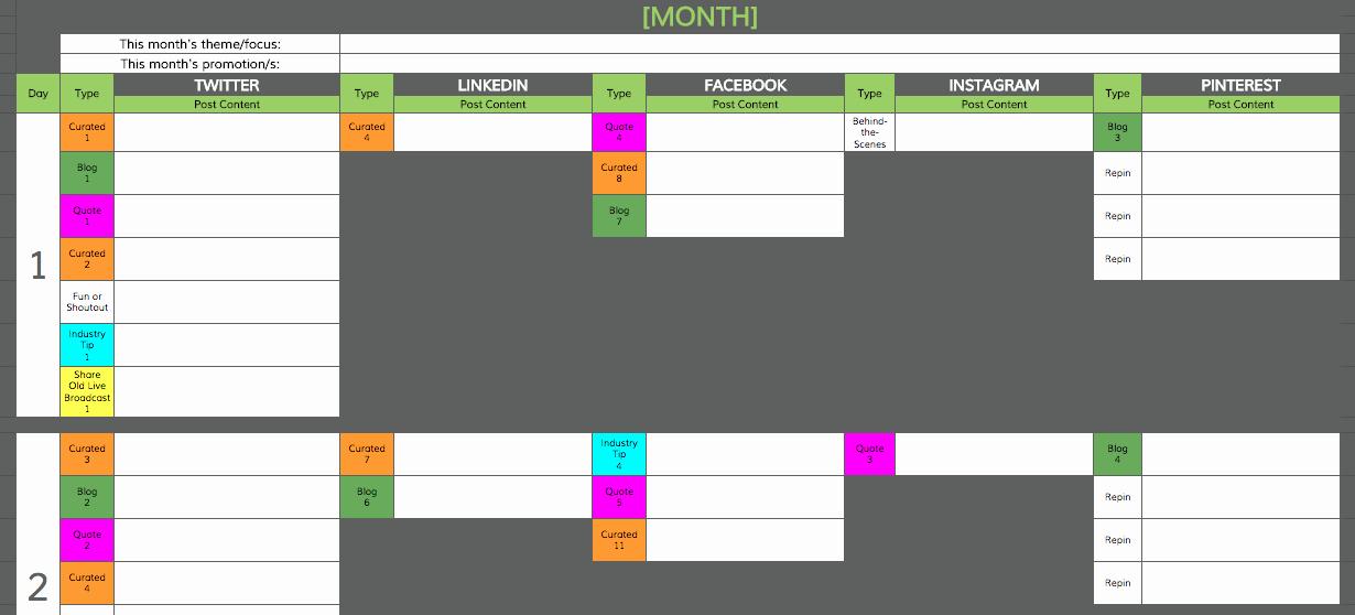 Social Media Content Calendar Template Road Warrior Creative