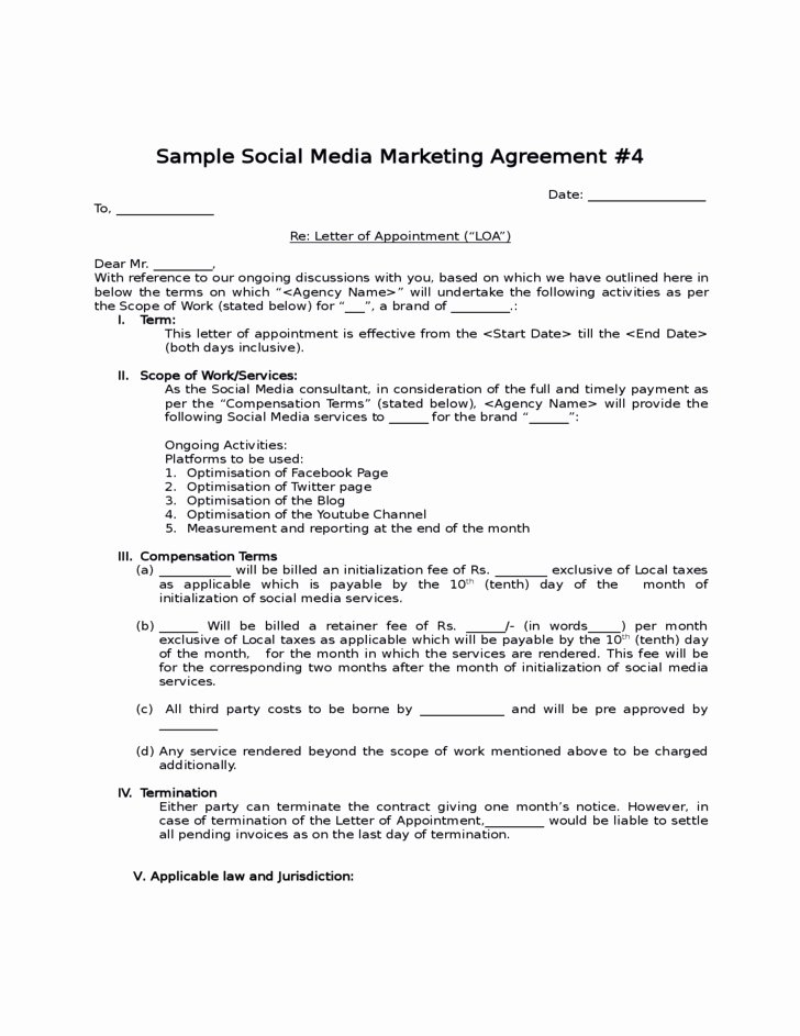 Social Media Contract Template