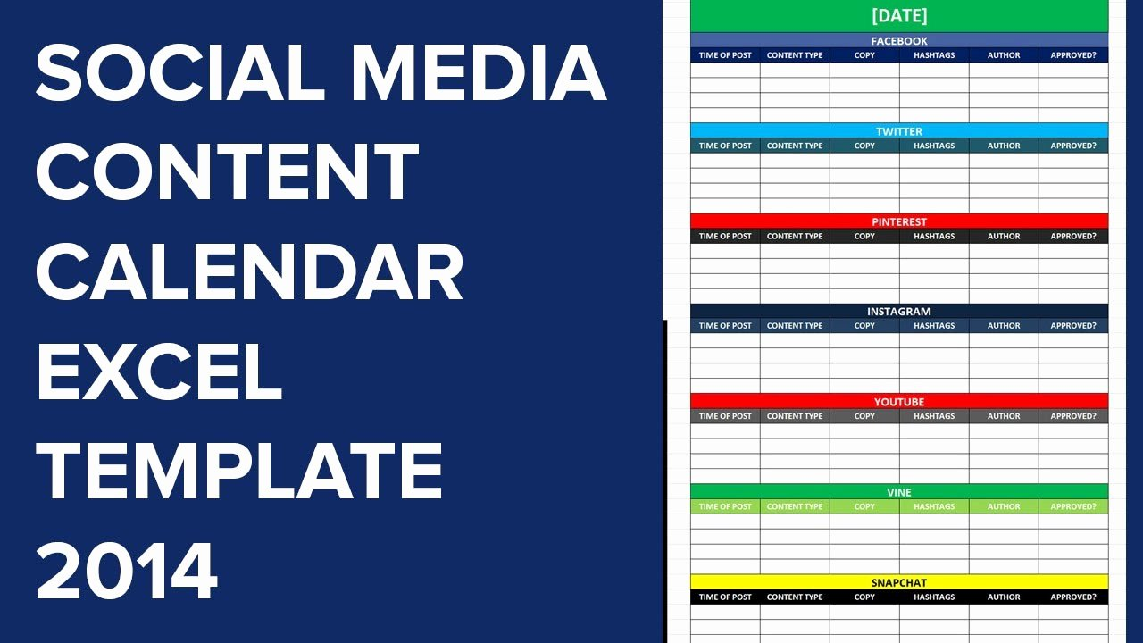 Social Media Editorial Calendar Excel Template