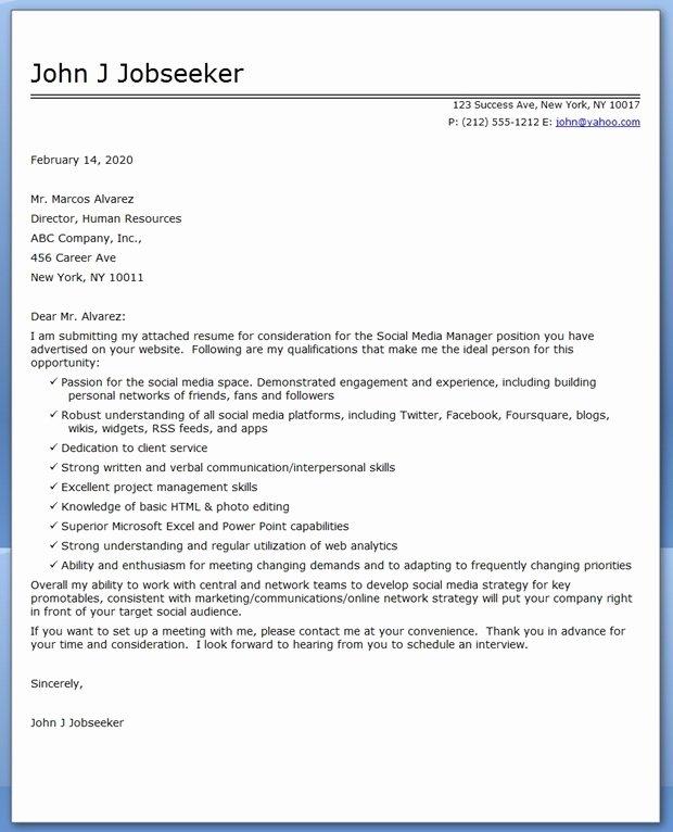 Social Media Manager Cover Letter Sample