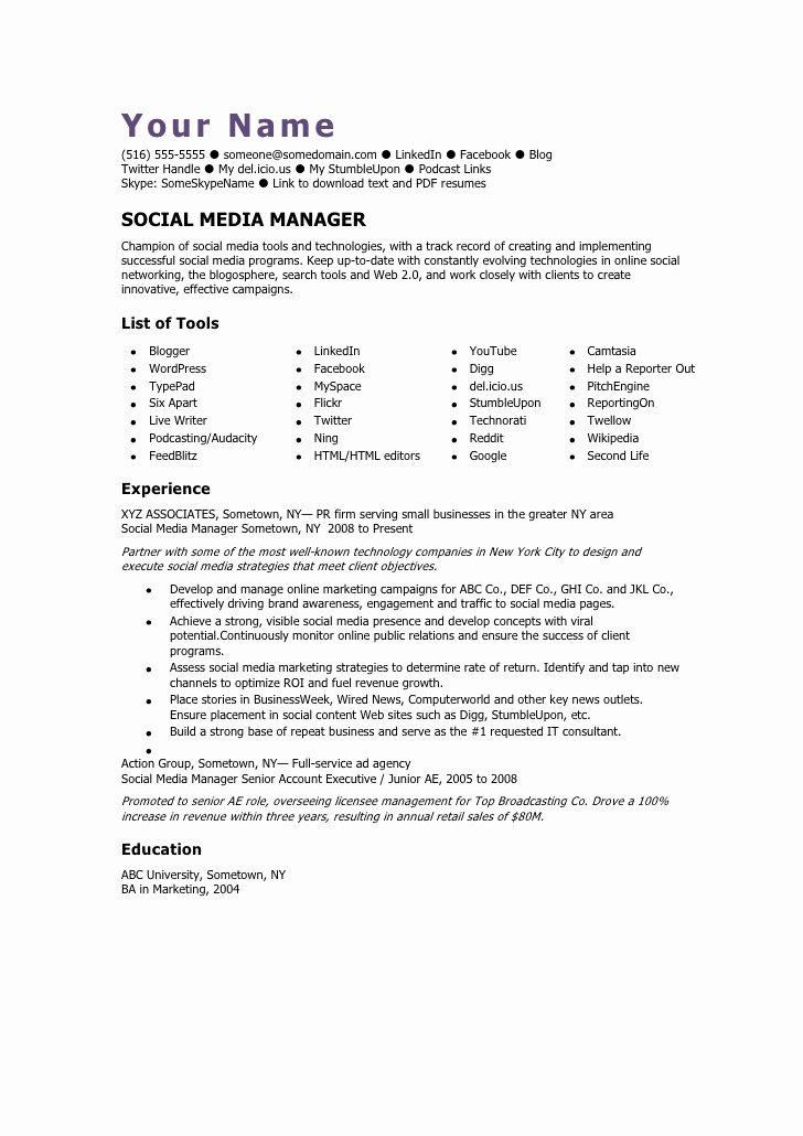 Social Media Manager Cv Template