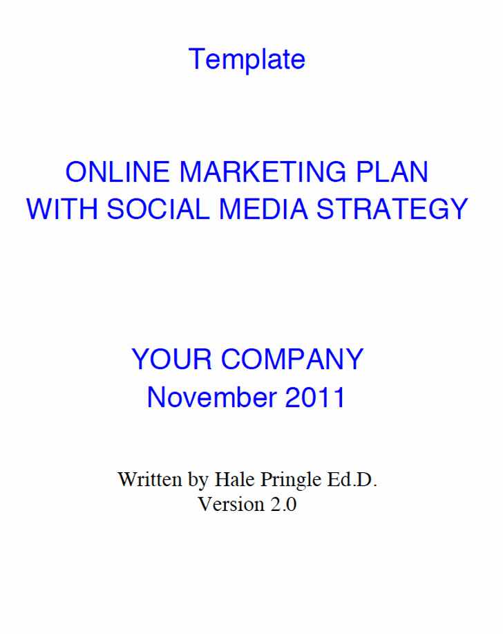 Social Media Marketing Plan Template Template Free