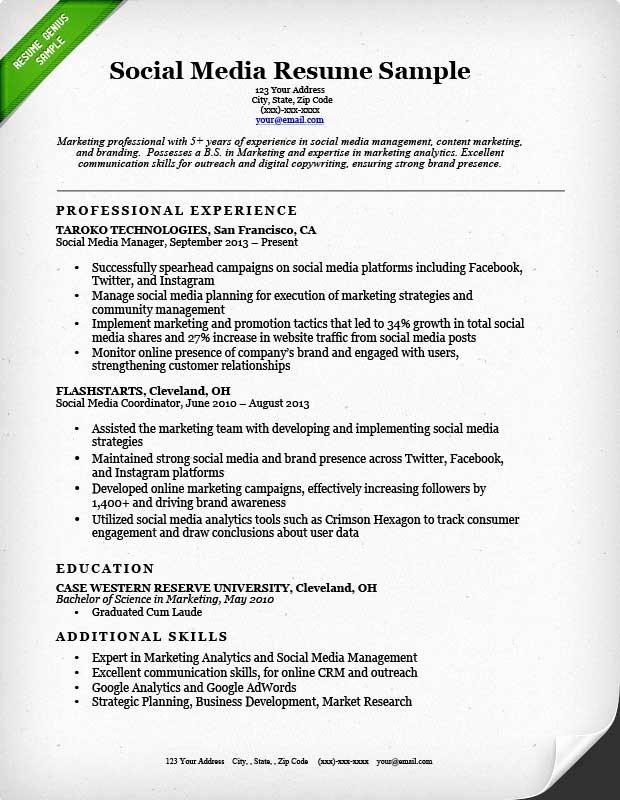 Social Media Marketing Resume Sample Best Resume Gallery
