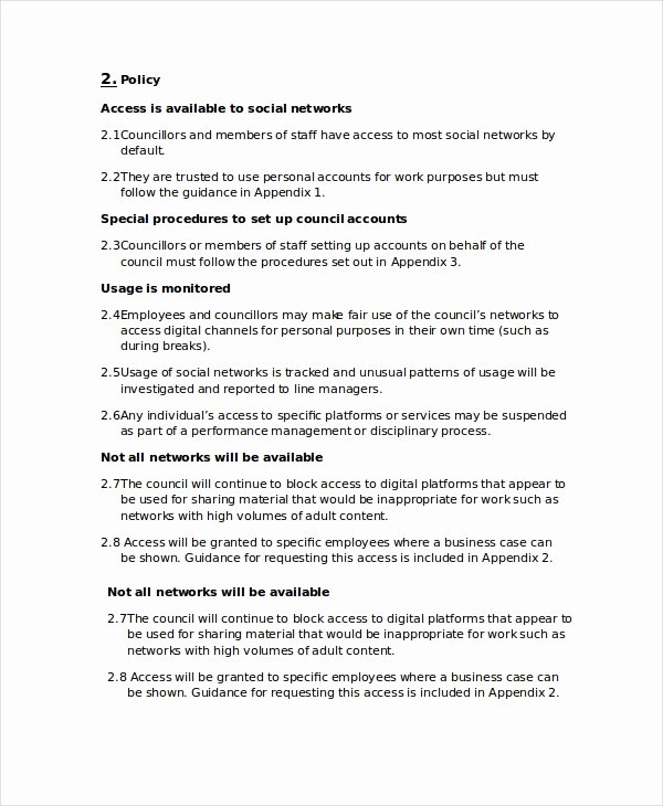 Social Media Policy Template 8 Free Word Pdf Document