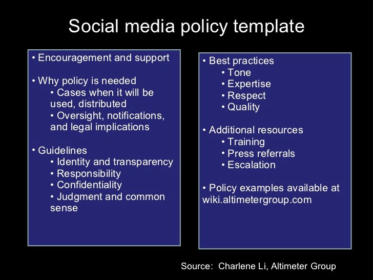 Social Media Policy Template Encouragement