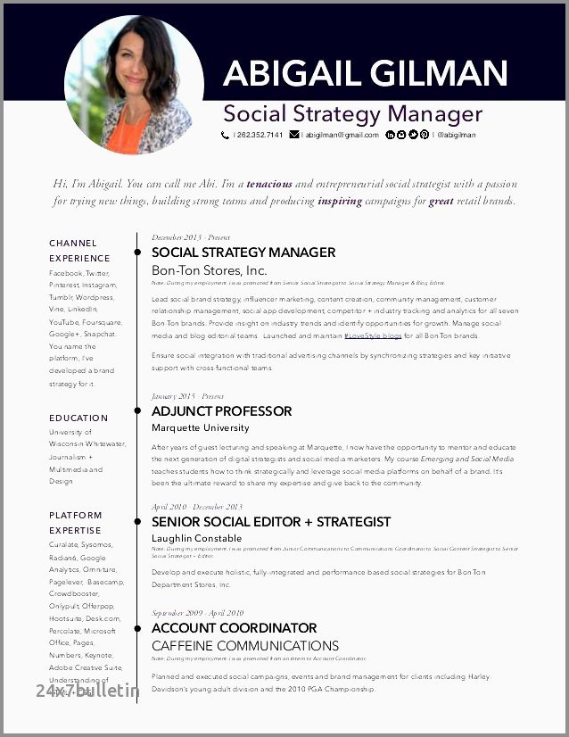 Social Media Specialist Resume Sample Perfect Manager