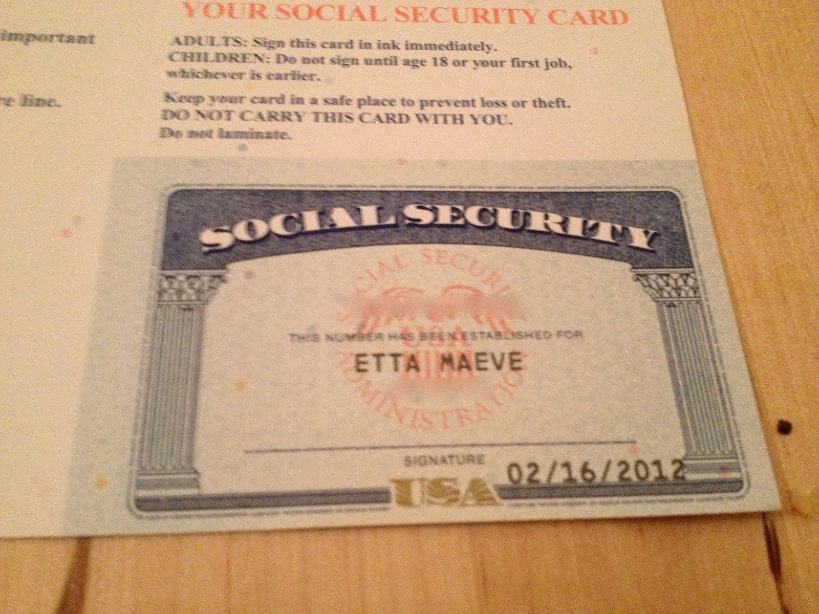 Social Security Card Template