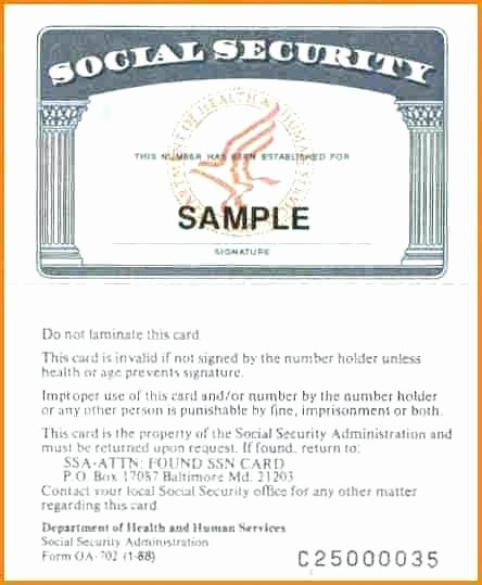 Social Security Card Template Psd Blank Print Version Fake