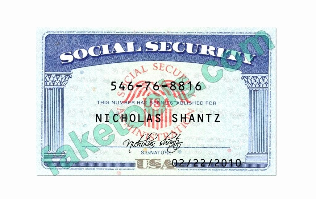Social Security Card Template Psd Blank Professional