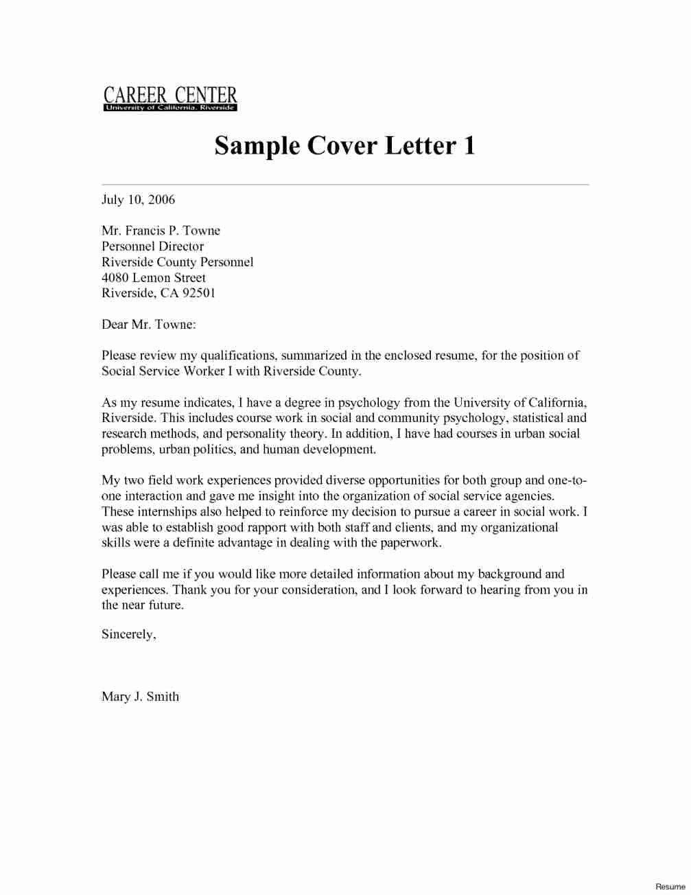 Social Services Cover Letter Sample