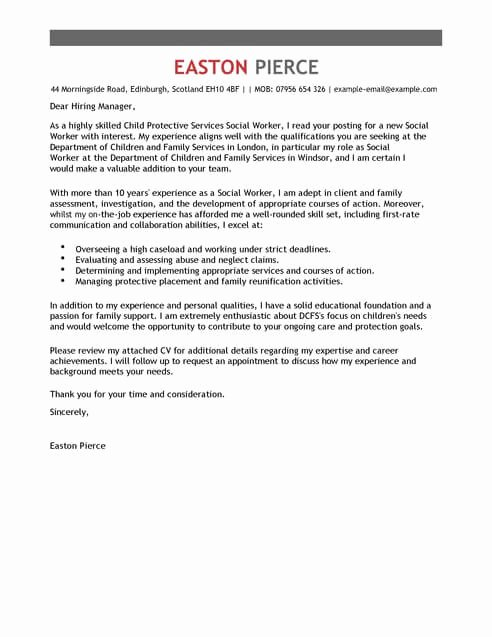 Social Services Cover Letter Templates