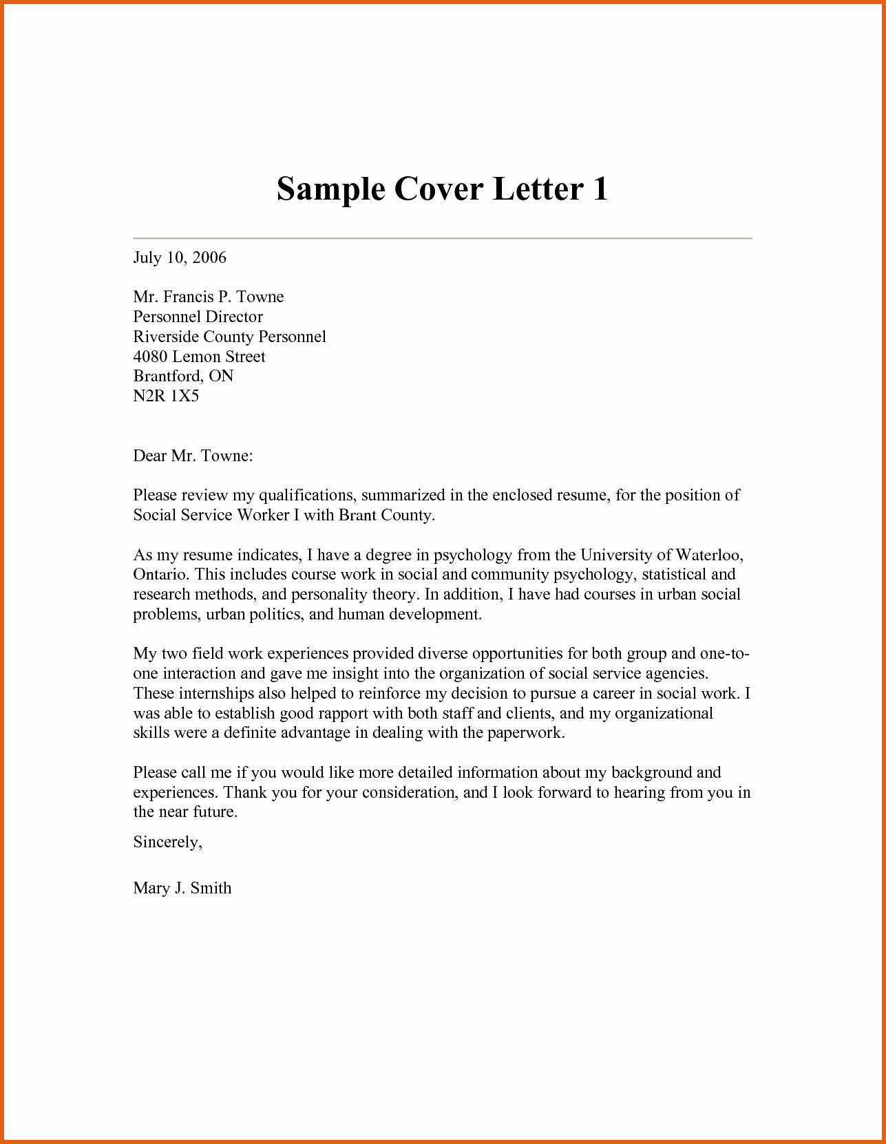 Social Work Cover Letters Templates Cover Letter Samples